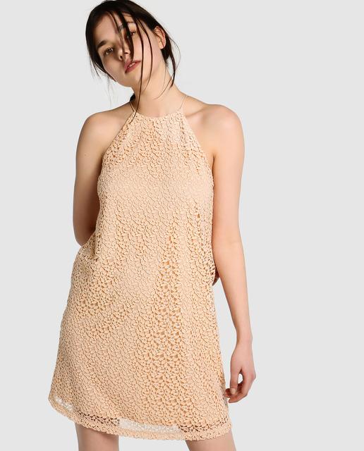 El Corte Inglés - Vestido de guipur cuello halter Easy Wear